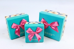 Набор подарочных коробок из 3шт - Квадрат бирюзовая крышка/малина бант Z11