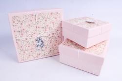 Набор подарочных коробок из 3шт - Квадрат Цветочная поляна розовый