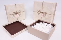 Набор подарочных коробок из 3шт - Квадрат 27х27х11,5 см бежевый / коричневый 7432М