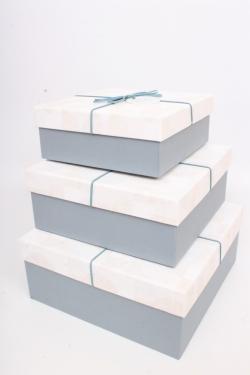 Набор подарочных коробок из 3шт - Квадрат 27х27х11,5 см розовый / серый 7449М