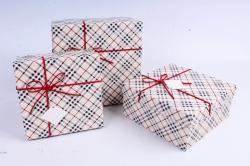 Набор подарочных коробок из 3шт - Квадрат Клетка бежевый