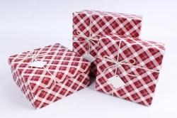 Набор подарочных коробок из 3шт - Квадрат Клетка красный