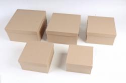 Набор подарочных коробок из 5шт - Квадрат КРАФТ №76  Пин76-К