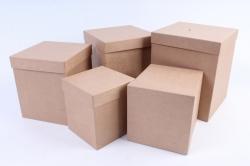Набор подарочных коробок из 5шт - Квадрат КРАФТ   (М) Пав2-К