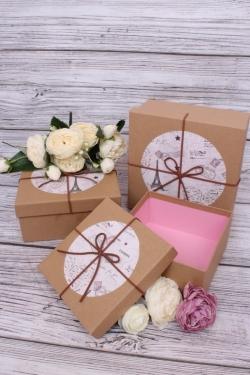 Набор подарочных коробок из 3шт - Квадрат крафт с рисунком 3900-2 19*19*9см  10331-150