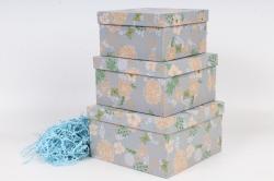 Набор подарочных коробок из 3шт - Квадрат №75ЛЮКС Узор на синем 19,5*19,5*11см Пин75К/Люкс/УС