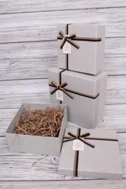 Набор подарочных коробок из 3шт - Квадрат меланж серый 18*18*9см  В104