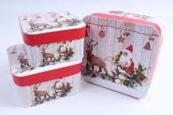 Набор подарочных коробок из 3шт - Квадрат НГ Дед Мороз, Олень SY3374-1605NG