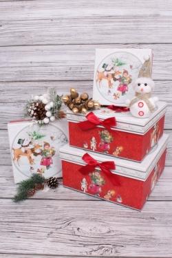 Набор подарочных коробок из 4шт - Квадрат НГ Девочка с подарками 22*22*11см  N122