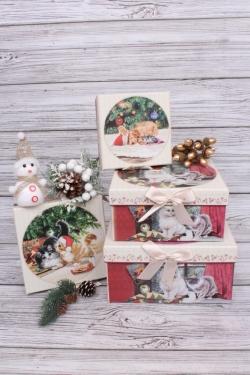 Набор подарочных коробок из 4шт - Квадрат НГ Корзина радости 22*22*11см  N121