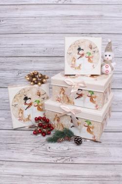 Набор подарочных коробок из 4шт - Квадрат НГ Музыканты Снеговики 22*22*11см  N119