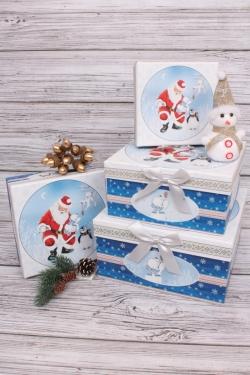 Набор подарочных коробок из 4шт - Квадрат НГ Санта и пингвин 22*22*11см  N120