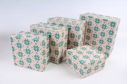 Набор подарочных коробок из 5шт - Квадрат Нов.Год №76 Снежинки новые  Пин76НГ-8