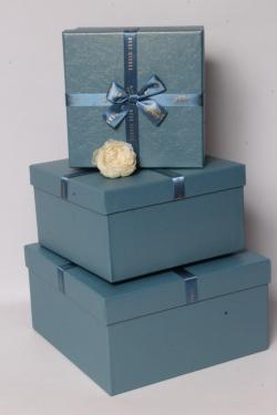 Набор подарочных коробок из 3шт - Квадрат перламутр бирюза 26*26*14см В621