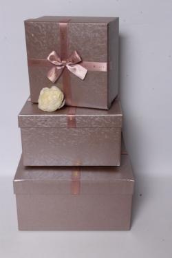 Набор подарочных коробок из 3шт - Квадрат перламутр лиловый 26*26*14см В621