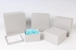 Набор подарочных коробок из 5шт - Квадрат Перламутровое серебро №76 Пин76-ПС