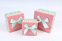 Набор подарочных коробок из 3шт - Квадрат розовая крышка/мятный бант Z11