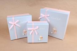 Набор подарочных коробок из 3шт - Квадрат с хвостиком Мишка  К818