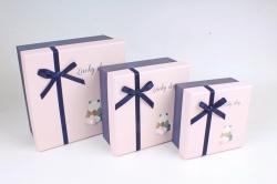 Набор подарочных коробок из 3шт - Квадрат с хвостиком Панда  К818