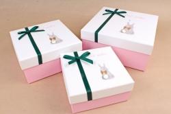 Набор подарочных коробок из 3шт - Квадрат с хвостиком Зайчик  К818