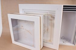 Набор подарочных коробок из 5шт - Квадрат с окном белый 39*39*14см D47