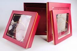 Набор подарочных коробок из 5шт - Квадрат с окном бордо  D45