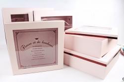 Набор подарочных коробок из 5шт - Квадрат с окном зефирный  М0019