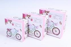 """Набор подарочных коробок из 3шт - Квадрат """"Велосипеды""""   SY2289-303  М"""