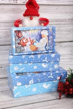 Набор подарочных коробок из 3шт - НГ №107 Лесные Жители и внучка Деда Мороз 17,5*10,5*6,5 Пин107НГ-4