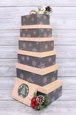 Набор подарочных коробок из 6шт - НГ № 106  С Наступающем НГ! 6в1 32*20*13см  Пин106НГ-10