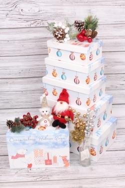 Набор подарочных коробок из 6шт - НГ № 106   Счастливого Нового Года! 32*20*13см Пин106НГ-5
