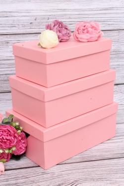 Набор подарочных коробок из 3шт - Прямоугольник №74 Розовый Перламутр 23см*16см*9,5смПин74-РП