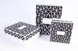 Набор подарочных коробок из 3шт - Прямоугольник Абстракция Белый