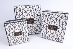 Набор подарочных коробок из 3шт - Прямоугольник Абстракция Чёрный
