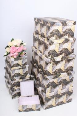 """Набор подарочных коробок из 10шт - Прямоугольник """"Абстракция"""" 37*29*16см SY605-1805"""