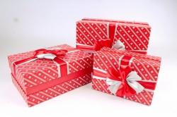Набор подарочных коробок из 3шт - Прямоугольник атласный бант красный  К506