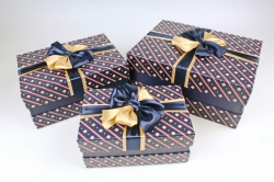 Набор подарочных коробок из 3шт - Прямоугольник атласный бант синий  К506