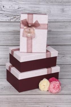 Набор подарочных коробок из 3шт - Прямоугольник бант органза бордо 21*16*9см В483В