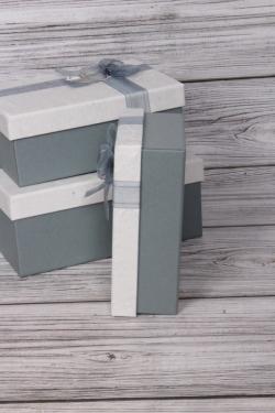 Набор подарочных коробок из 3шт - Прямоугольник бант органза серо/голубой 21*16*9см В483В