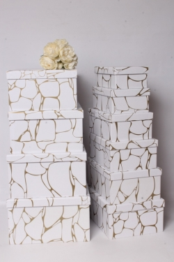 Набор подарочных коробок из 10шт - Прямоугольник белые камни на золоте 37*28*16см К534