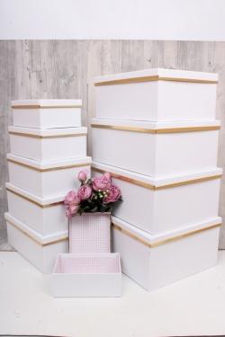 """Набор подарочных коробок из 10шт - Прямоугольник """"Белый с золотой полосой"""" 37*29*16см SY605-417"""