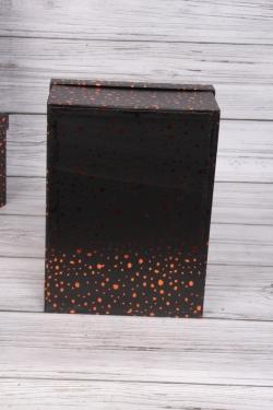 """Набор подарочных коробок из 10шт - Прямоугольник """"Блестки черные"""" 37*29*16см SY605-BBLACK"""