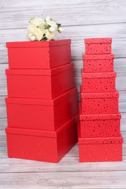 """Набор подарочных коробок из 10шт - Прямоугольник """"Блестки красные"""" 37*29*16см SY605-BRED"""
