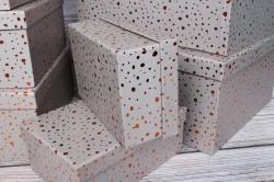 """Набор подарочных коробок из 10шт - Прямоугольник """"Блестки серые"""" 37*29*16см SY605-BGREY"""