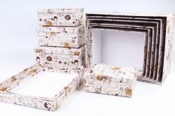 """Набор подарочных коробок из 10шт - Прямоугольник """"Coffe Shop"""" SY7486-13"""