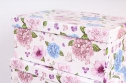 """Набор подарочных коробок из 10шт - Прямоугольник """"Цветы и бабочки"""" 37*29*16см  SY605-1477"""