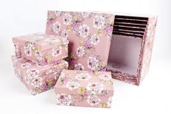 """Набор подарочных коробок из 10шт - Прямоугольник """"Цветы на розовом"""" SY605-1480"""