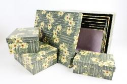 """Набор подарочных коробок из 10шт - Прямоугольник """"Цветы на тёмнозелёном"""" SY605-1560"""