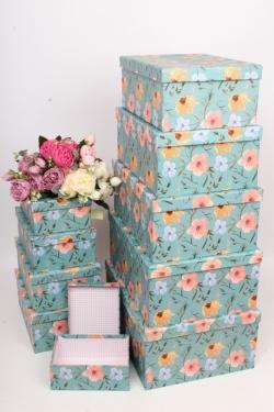 """Набор подарочных коробок из 10шт - Прямоугольник """"Цветы"""" 37*29*16см SY605-1783"""