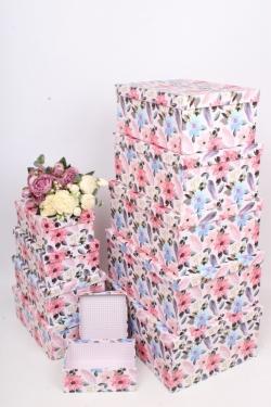 """Набор подарочных коробок из 10шт - Прямоугольник """"Цветы"""" 37*29*16см SY605-1785"""